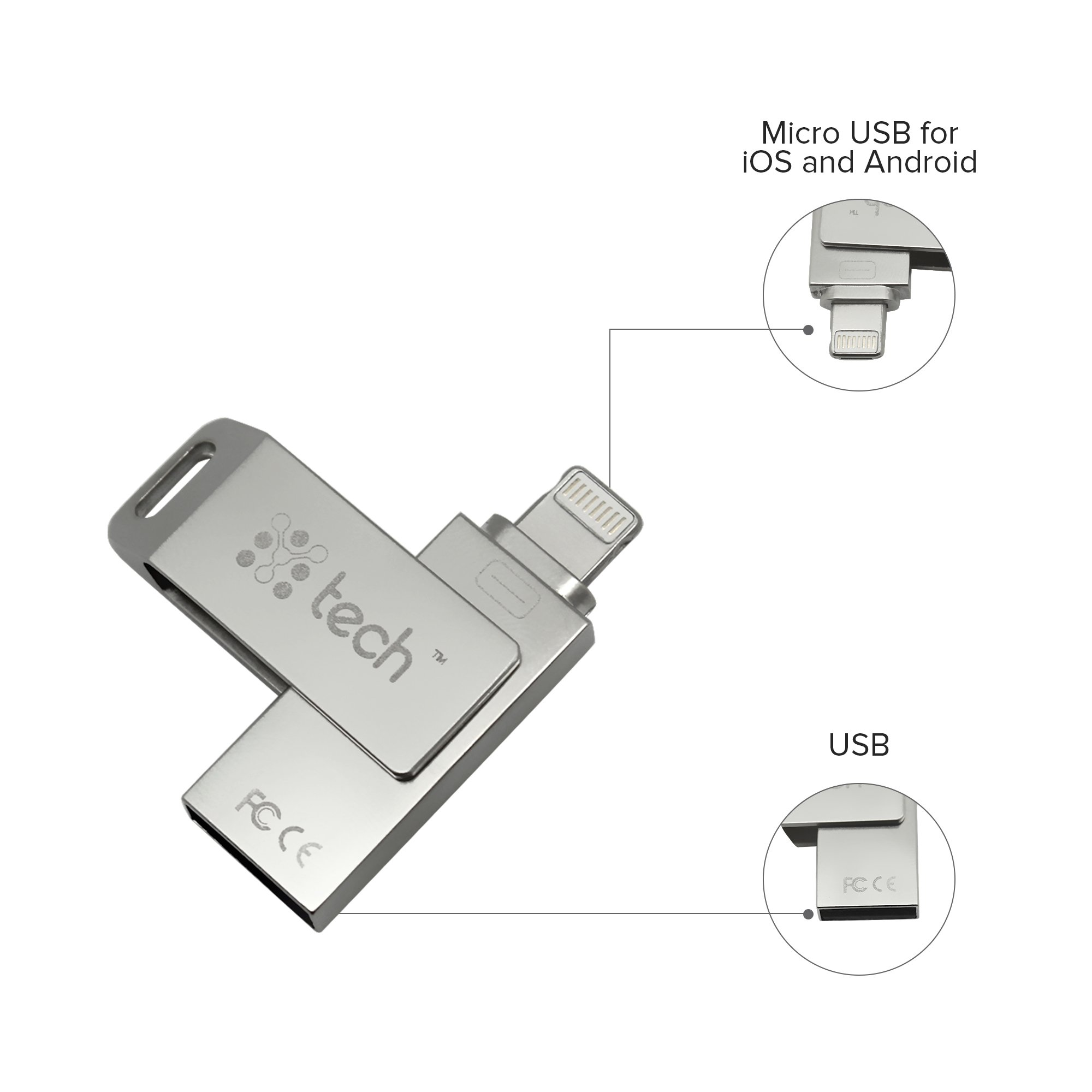 Ytech Flash Drive 3 In 1, 256 Gb, IPhone, Android, PC, IOS Flash Drive, Android Flash Drive, Slim Flash Drive for IPhone, IPad, Memory Stick With Extended Lightning Connector, Ytech External Storage E by YTech (Image #3)