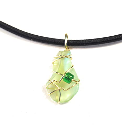 wire wrapped recycled glass pendant. Wire Wrapped Recycled Antique Uranium Vaseline Glass Pendant Necklace N
