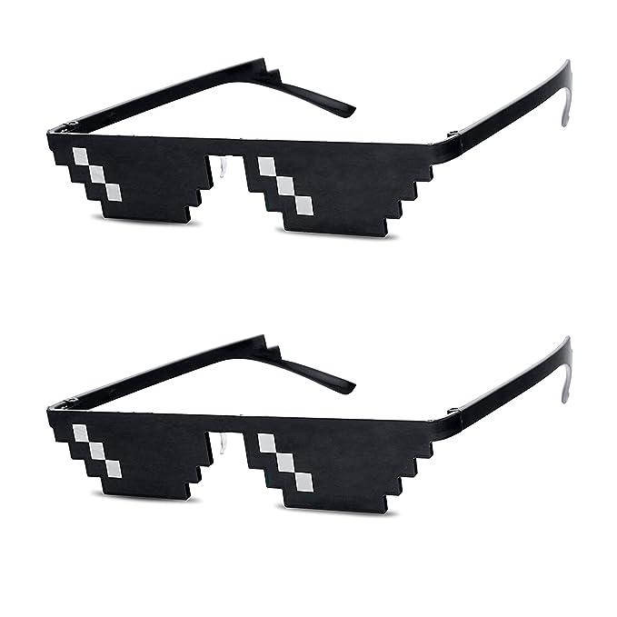 21dd1982 Original Deal with It Thug Life Glasses Retro Mosaic Dark Black Pixelated  6-Bit Novelty