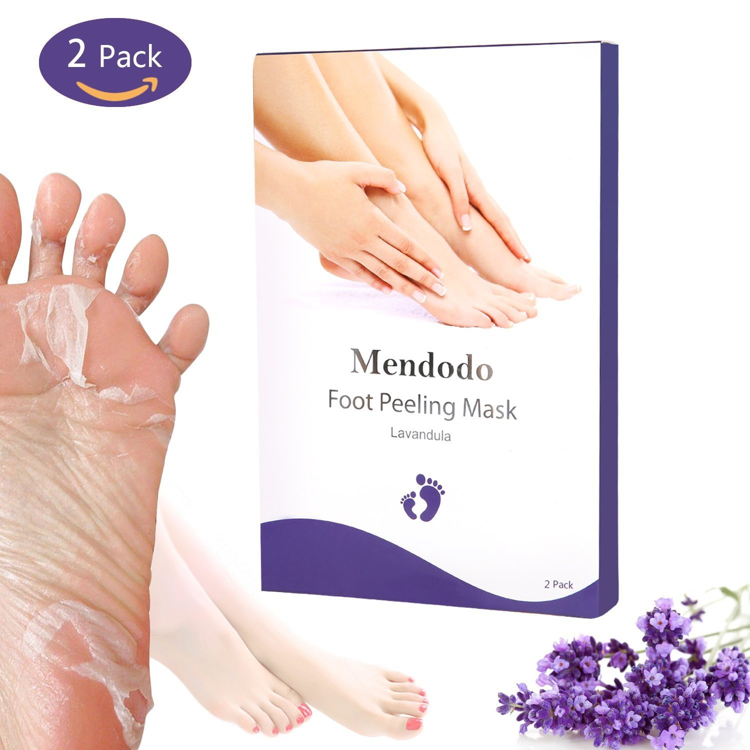 Foot Peel Mask, Mendodo 2 Pairs Foot Exfoliating Calluses and Dead Skin Remover Booties Repair Rough Heels Get Baby Soft Smooth feet in 1-2 Weeks- Lavender MendoTek
