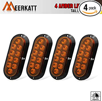 """Pack of 4 Meerkatt 6/"""" Inch Oval Smoked Lens White LED Peterbilt Lights Marker Clearance Lamp Rear Tail Bulbs Sealed Surface Mount Waterproof for Trailer Boat Truck Pickup Lorry 12v DC Universal DA12"""