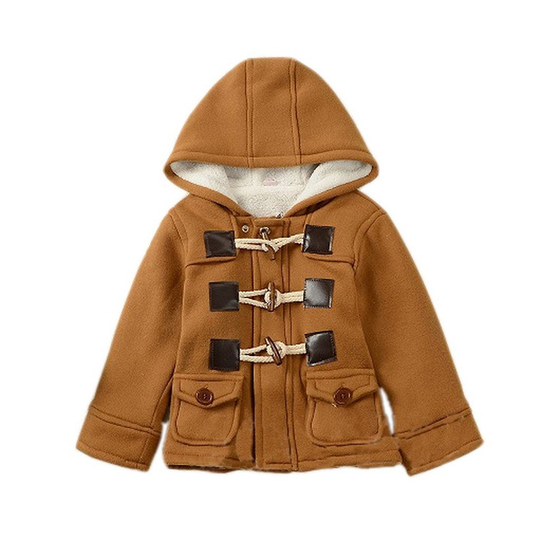 Ekaliy Winter Toddler Boy Kids Fleece Coats Jackets with Hoodies Khaki 4t by Ekaliy (Image #1)