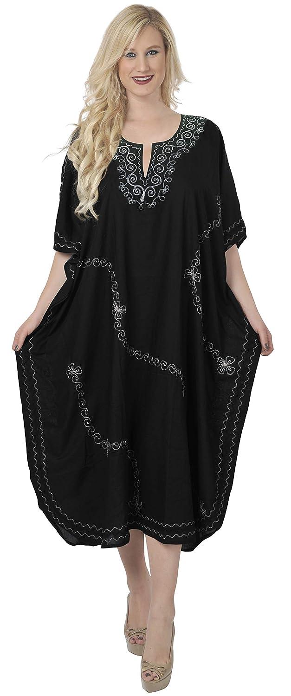 LA LEELA Frauen Damen Rayon Kaftan Tunika Bestickt Kimono freie Größe Lange Maxi Party Kleid für Loungewear Urlaub Nachtwäsche Strand jeden Tag Kleider N