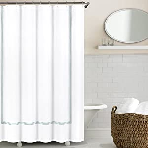 Echelon Home Hotel Collection Silver Blue Echelon Three Line Shower Curtain
