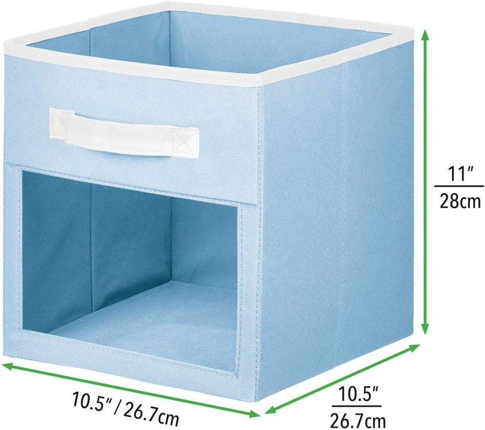 mDesign bo/îte de Rangement en Tissu etc bac de Rangement Ouvert avec poign/ée et fen/être de visualisation Caisse de Rangement pour Les Affaires de b/éb/é Bleu//Blanc Lot de 2