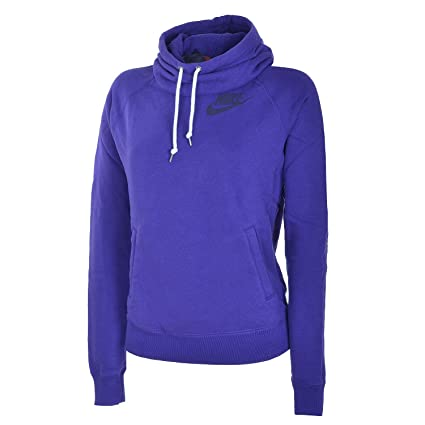 Nike Hoody Rally Funnel Neck - Sudadera de fitness para mujer, color púrpura, talla