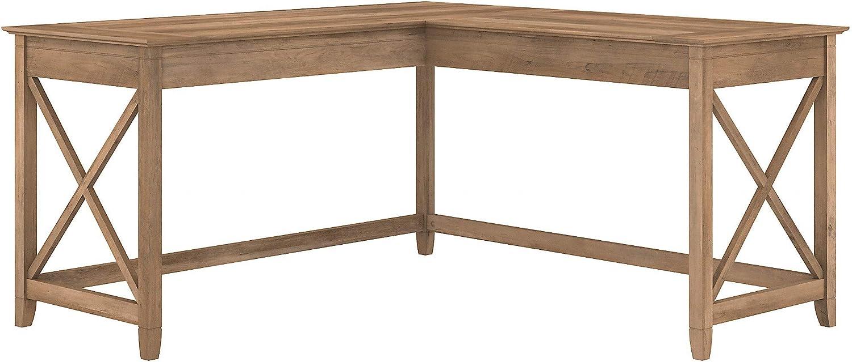 Bush Furniture Key West 60W L Shaped Desk, Reclaimed Pine