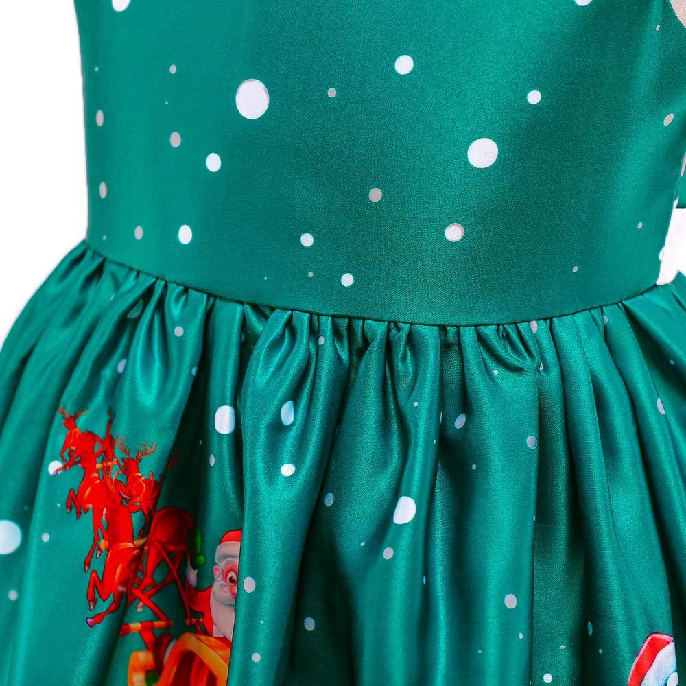 Baby Girls Santa Print Princess Dress Christmas Outfits Bokeley Toddler Christmas Dresses