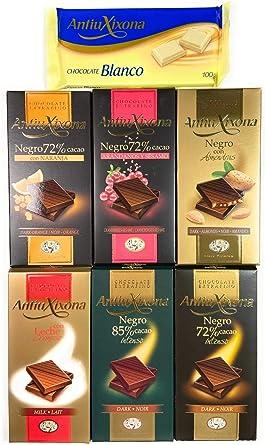 Pack de 7 tabletas de chocolate Antiu Xixona - Calidad Premium: Chocolate con Leche, Chocolates Puros y Chocolate Blanco: Amazon.es: Alimentación y bebidas