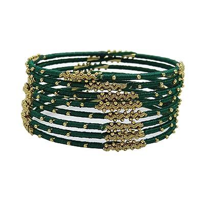 8b5002e56ecc Banithani hilo dorado pulseras envueltos bisutería indio 2   10  Amazon.es   Joyería