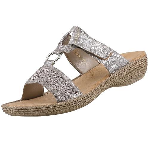 8dd08f75f9de Rieker Damen Pantoletten Silber Grau (Metallic), Schuhgröße EUR 42   Amazon.de  Schuhe   Handtaschen