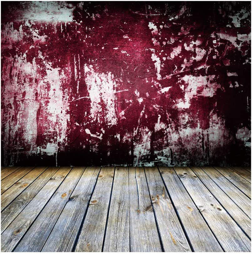 Yeele Peeling Wall Wood Floor Backdrop Old Grungy Room with Red Wall Photography Background Kids Adults Artistic Portrait 9x9ft Photoshoot Banner Room Decoration Photo Booth Props Wallpaper