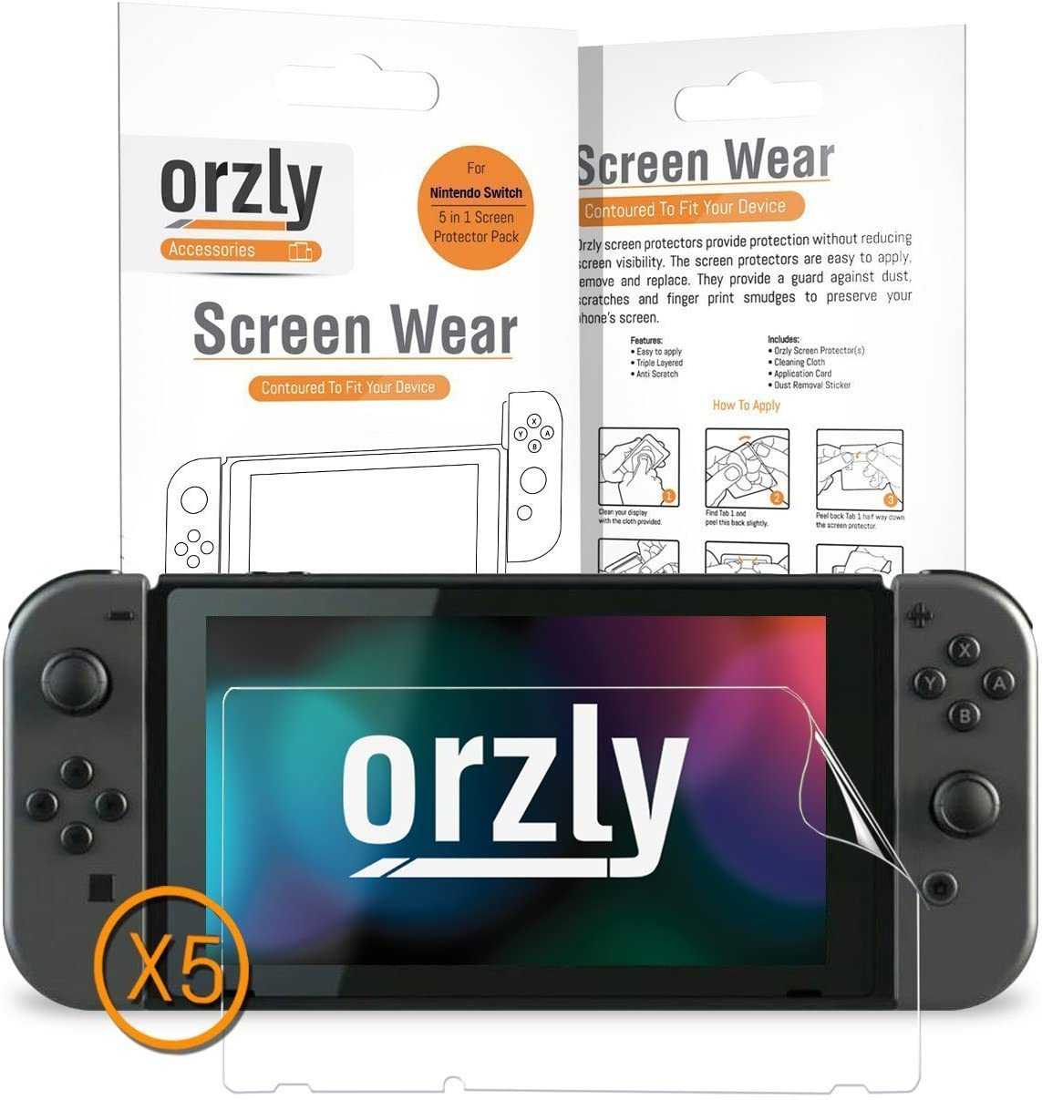 Orzly Pack 5 en 1 de Protectores de Pantalla compatibles con la Nintendo Switch – Multipack de 5 Protectores Transparentes para la Tableta de la Nintendo Switch: Amazon.es: Electrónica
