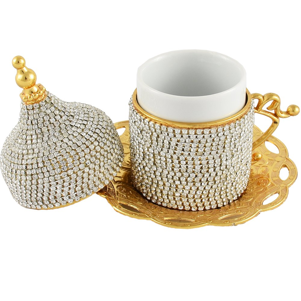 Set of 6 Espresso Cups 2.35 Oz, Coffee Cups, Crystal, Swarovski, Demi Cup and Coaster, Demitasse Porcelain, Wedding Favor, Luxury Gifts for Business, Gold, Turkish Coffee, Housewarming Gift Ideas