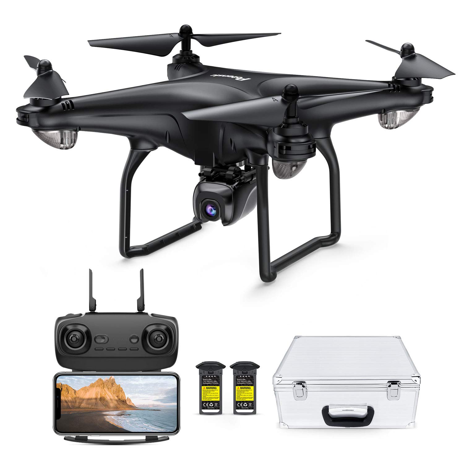 Potensic D58, FPV Drone with 1080P Camera, 5G WiFi HD Live Video, GPS Auto Return, RC Quadcopter for Adult, Portable Case, 2 Battery, Follow Me, Easy Selfie Beginner, Expert by Potensic