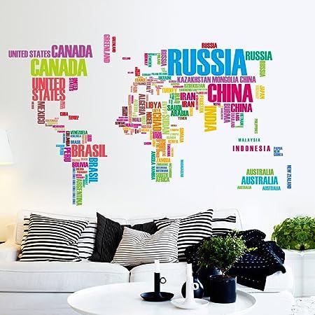 los Mapa del Mundo Vinilos Decorativos Arte Inglés Carta Citar Pegatinas de Pared Negro Mapa del Mundo Original Habitación Creativa Calcomanías de Pared (Colorful): Amazon.es: Hogar