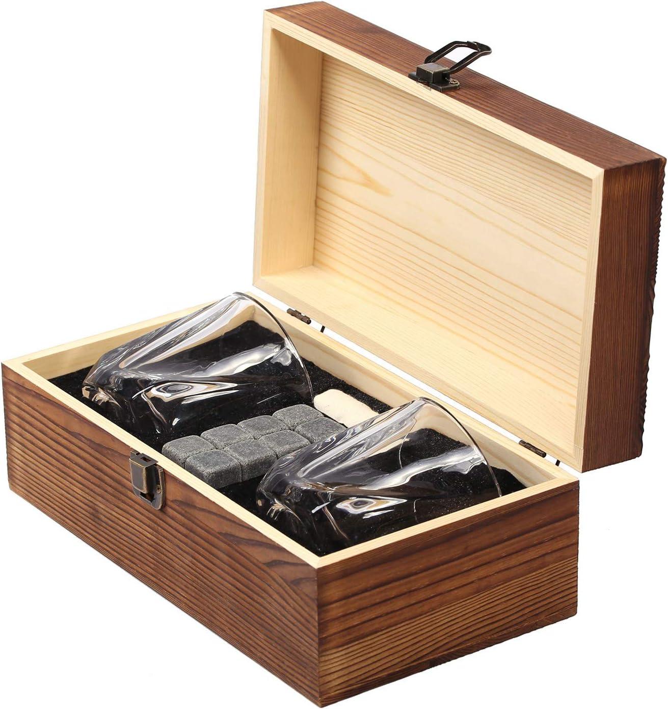 8 K/ühlsteine Geschenkidee FORYOU24 Personalisierte Whisky-Geschenk-Box aus Holz mit Gravur des Namens Motiv 01 2 Whiskeygl/äser