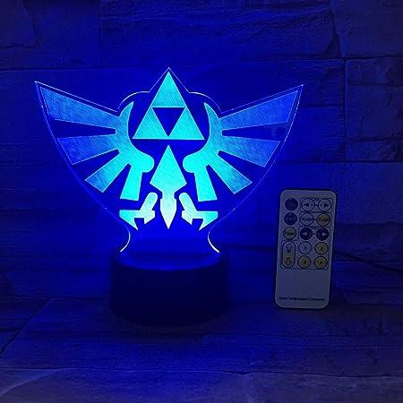 La légende de Zelda Triangle 3D USB LED Veilleuse 7Colors Illusion Lampe Tactile ou Télécommande Enfants Salon Lampe de Bureau