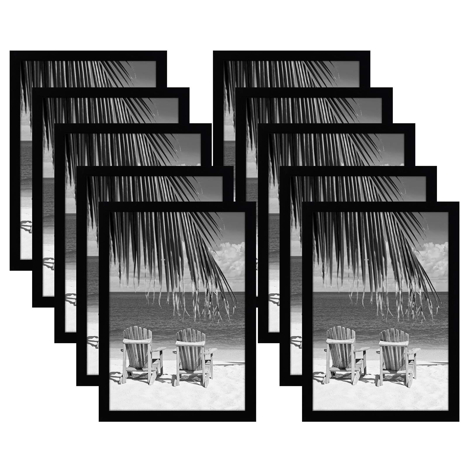 Americanflat 10 Pack - 13x19 Black Picture Frames - Shatter-Resistant Glass - Hanging Hardware Included