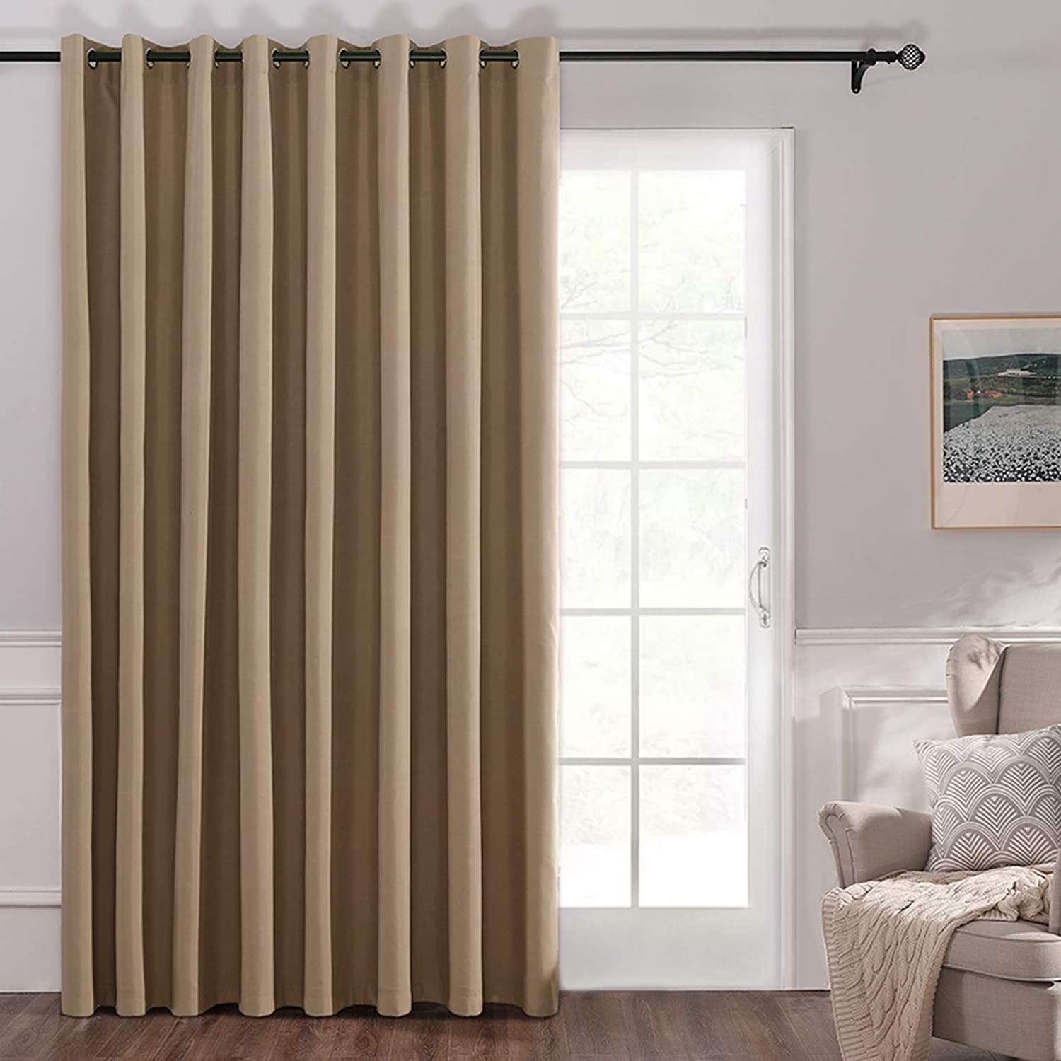 Amazon Com Miulee 100 Blackout Vertical Blinds For Sliding Glass Door Solid Grommet Window Curtain 1 Panel For Space Shared Room Divider W 100 X L 84 Inches Khaki Kitchen Dining