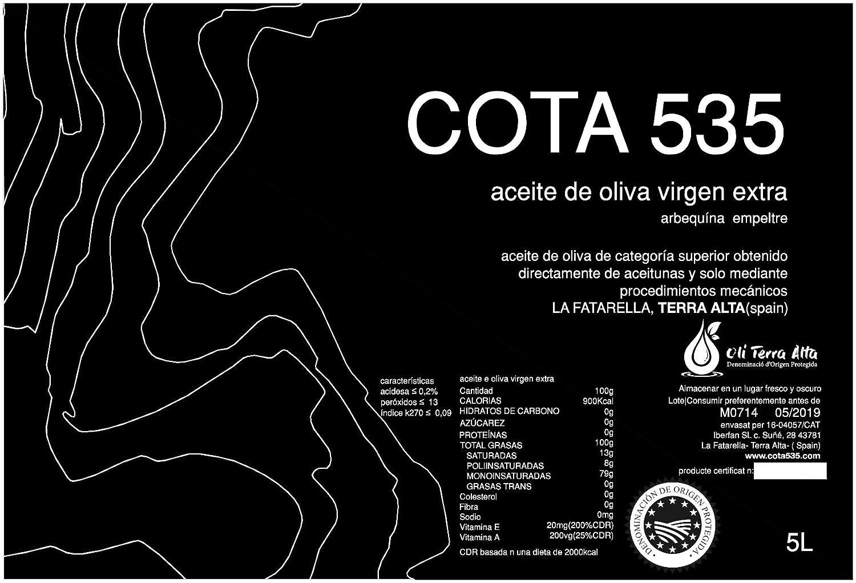 Cota535 aceite de oliva virgen extra DOP TERRA ALTA 5L: Amazon.es: Alimentación y bebidas