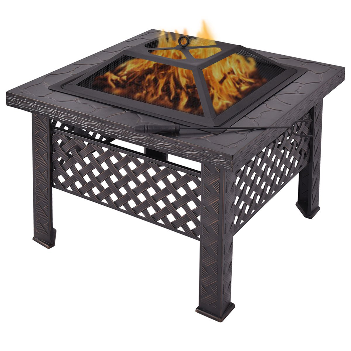 Outdoor Metal Fire Pit Backyard Patio Garden Square Stove With Poker 26 Inch by Jarad