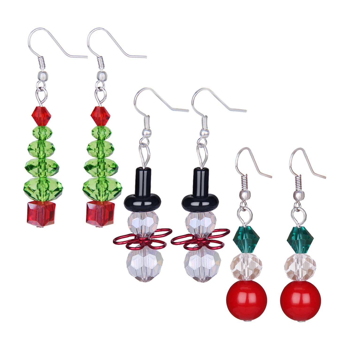 Zhenhui Handcrafted Clear Crystal Tree Earrings Set for Women Girls with White Snowman Red Beads Multicored Glass Dangle Best Valentine's Day Gift