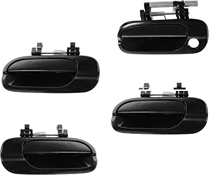 Door Handle Smooth Black Exterior Outside Kit Set of 4 for 02-06 Nissan Altima