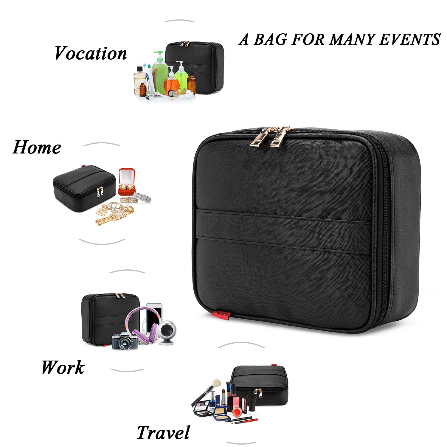 Makeup Bag NiceEbag Travel Cosmetic Bag for Women and Men Cute Makeup Case Leather Cosmetic Case with Adjustable Padded Dividers for Cosmetics Make Up Tools Toiletry Jewelry,Black by NiceEbag (Image #6)