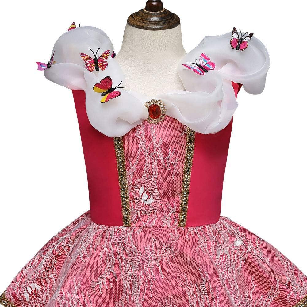Traje de Bella Durmiente Disfraces para Holloween Fiesta Navidad Boda Gala De Ceremonia Noche Cumplea/ños Aniversario Cosplay Costume para Ni/ña Chicas Disfraz de Princesa Aurora Carnaval Largo Vestido