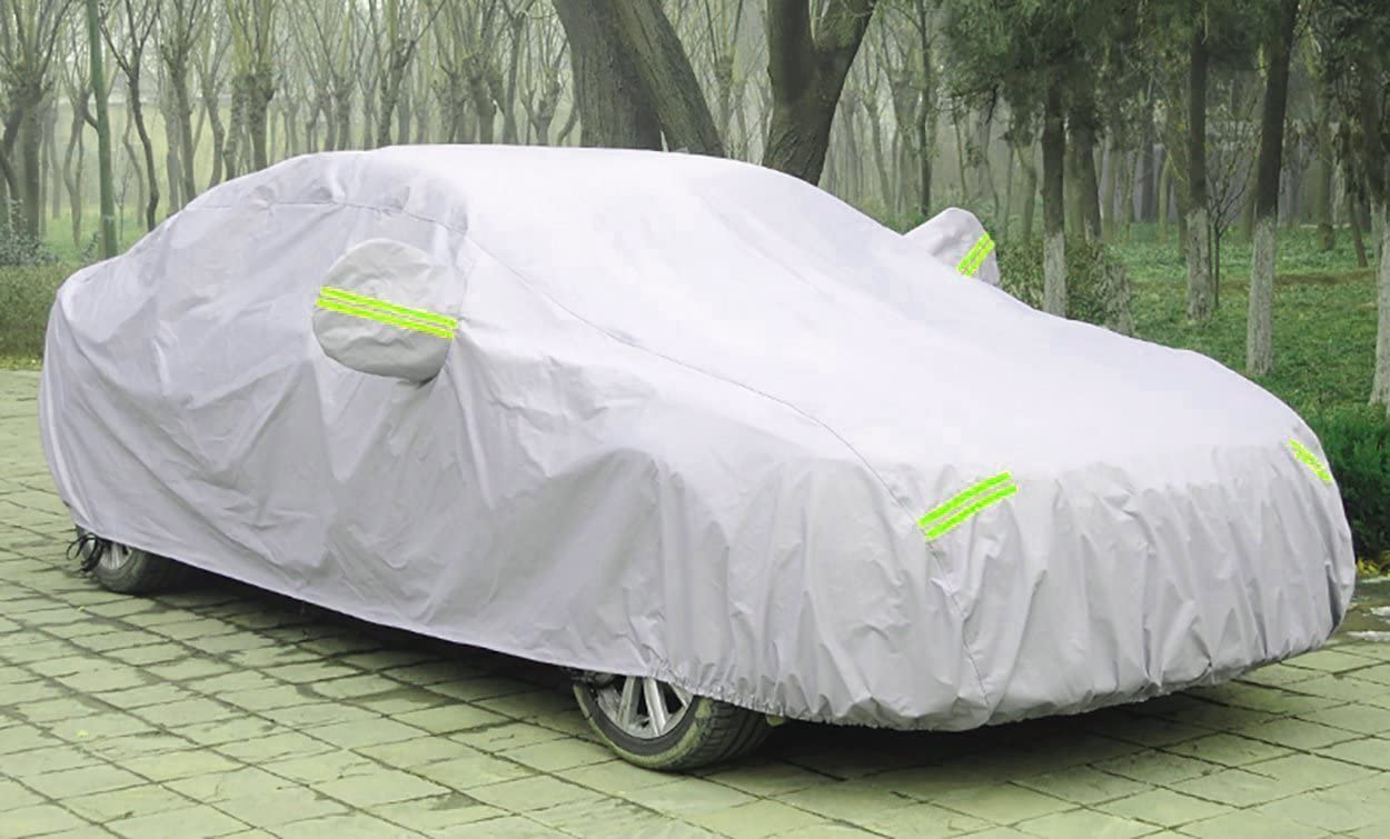 FREESOO Funda para coche FUNDA PROTECTORA CUBIERTA COCHE IMPERMEABLE algod/ón reflectante gris plateado S-XXL
