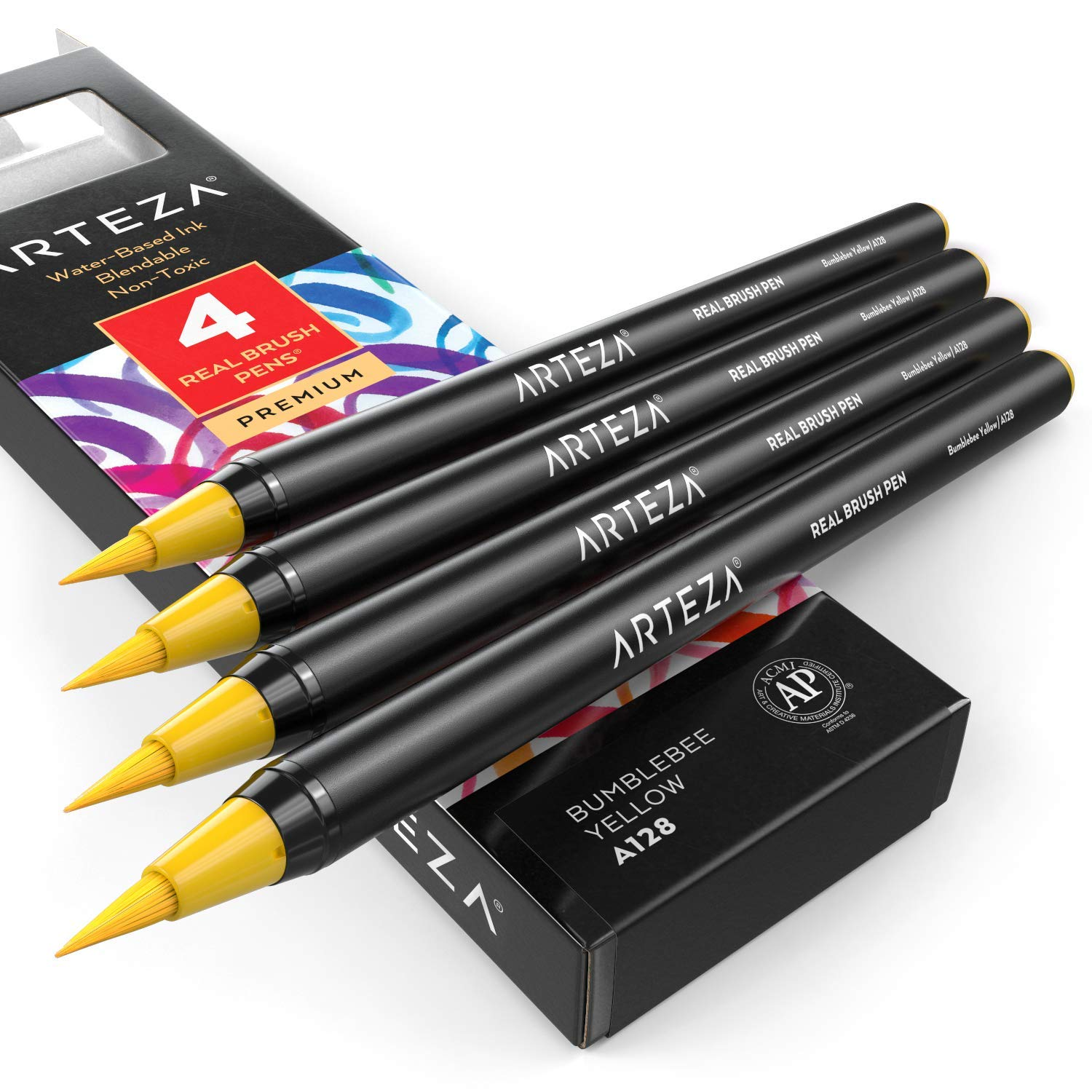 A117 Arctic Blue Arteza Real Brush Pens Pack of 4 Calligraphy and Drawing for Watercolor Painting with Flexible Nylon Brush Tips Paint Markers for Coloring