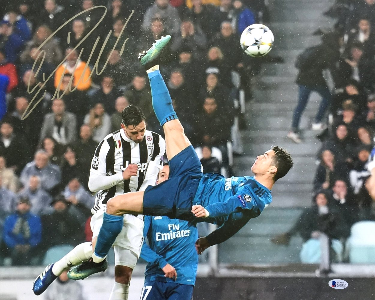33d5125e06a Cristiano Ronaldo Signed 16x20 Real Madrid vs Juventus 2018 Champions  League Bicycle Kick Photo BAS at Amazon s Sports Collectibles Store