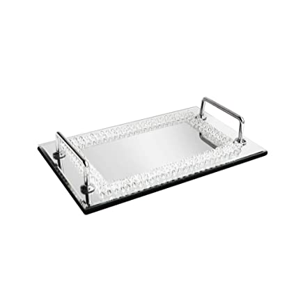 American Atelier Beads Decorative Tray with Handles, Silver