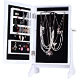 ROULING Wooden Jewelry Box Cosmetic Organizer Desktop Cabinet Gift for Girl and Lady