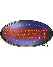 SEREEN® Signe Ouvert Pour les entreprises, Signe LED clignotant ovale 19x10 pouces, LED Ultra-lumineuses, Deux Modes, clignotant et Stable de SEREEN® (Petit-Small) (Open Sign)