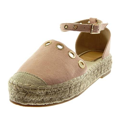 Angkorly - Zapatillas Moda Sandalias Alpargatas Plataforma Correa de Tobillo Mujer Perforado Dorado Cuerda Tacón Ancho 3.5 CM: Amazon.es: Zapatos y ...