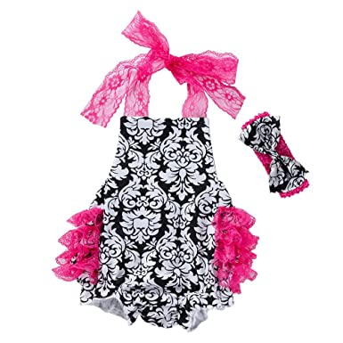 4ac8fde4f643 Amazon.com  Lurryly Newborn Baby Girls Romper Jumpsuit Clothes Bodysuit  Bowknot Pajamas Outfit 0-2T  Clothing