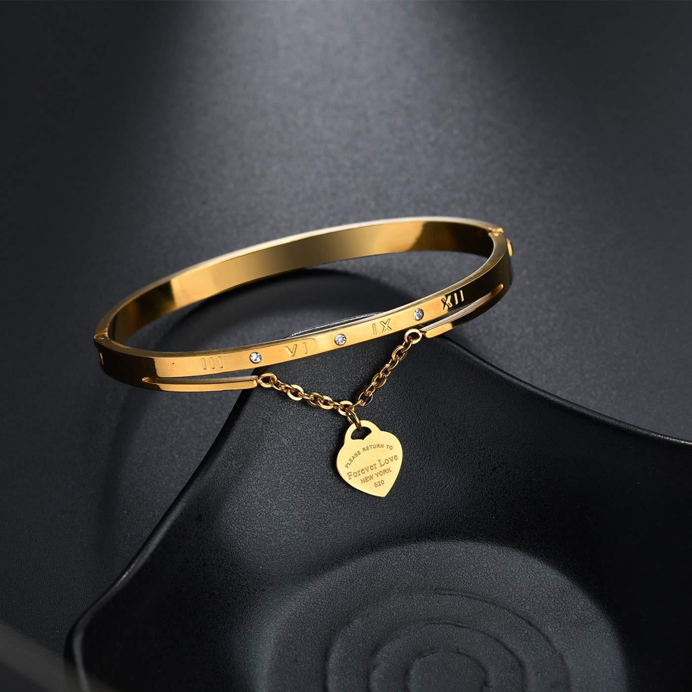 Panlady Women Stainless Steel Interchangeable Bangle Bracelet with Rhinestone Forever Love Heart Pendant Roman Numberal Bracelet for Wedding Anniversary