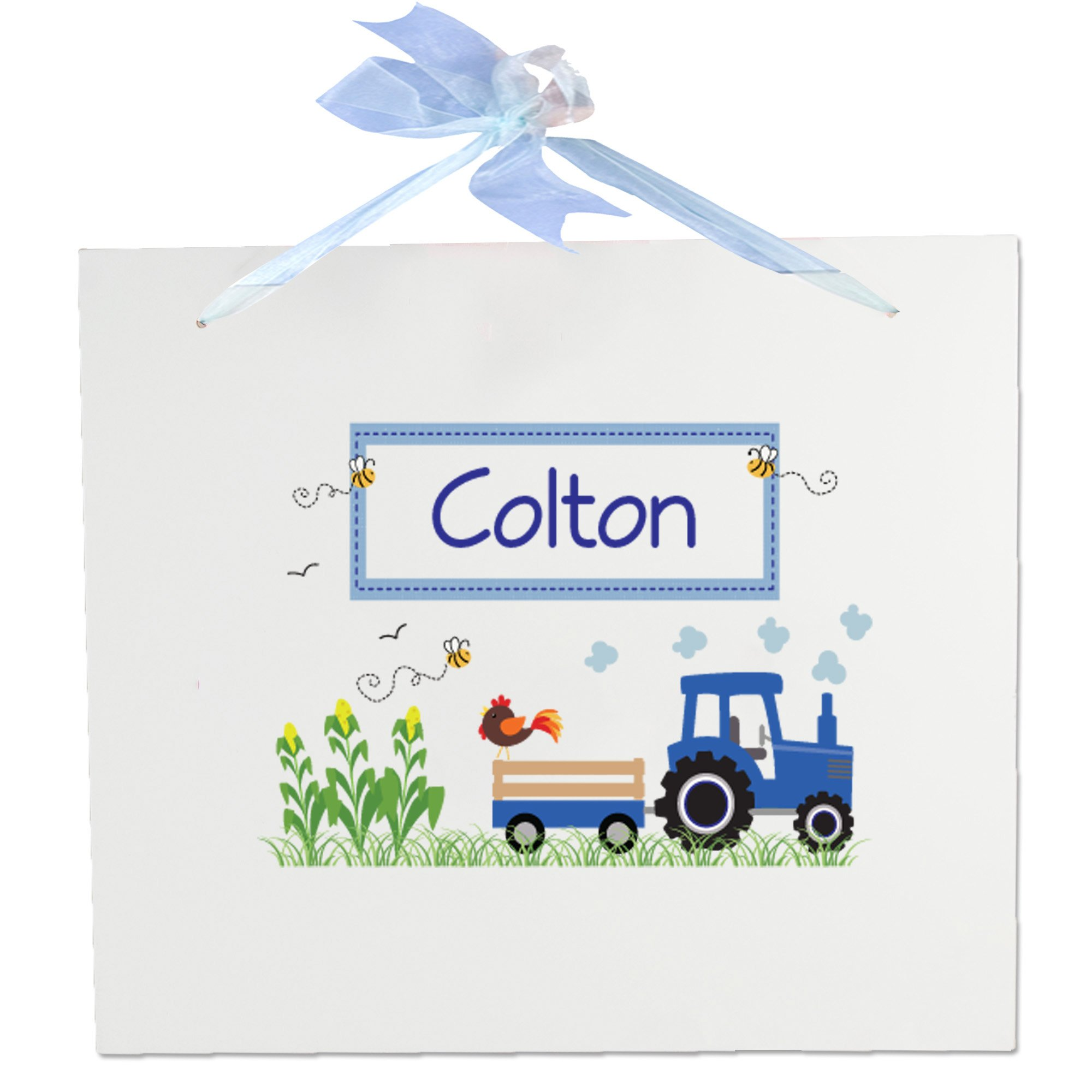 Personalized Nursery Wall Sign with Blue Tractor Design