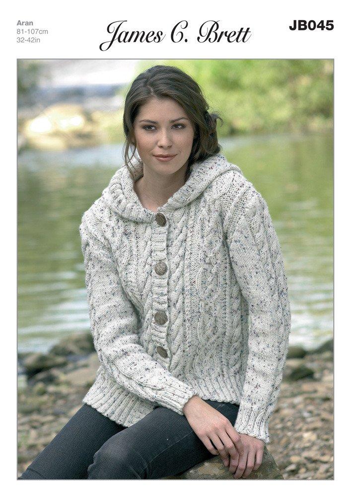 James C Brett Aran - JB045 Ladies Hooded Jacket Pattern 81-107 cm ...