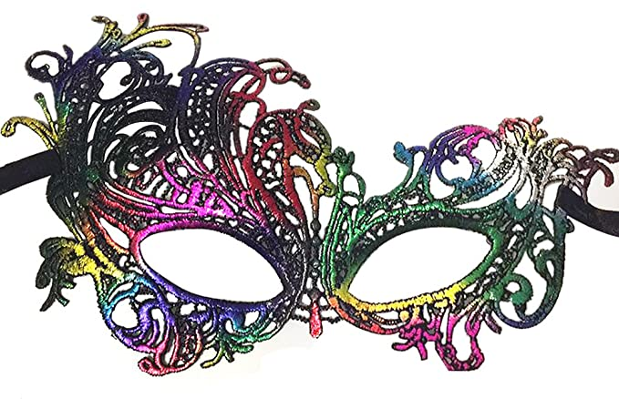 e33e28aeb211f Buy Coxeer Womens Lace Mask Colorful Mask Party Eye Mask Masquerade Mask  for Halloween Online at Low Prices in India - Amazon.in