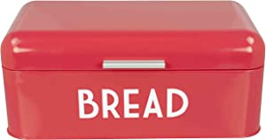 Home Basics BB44455 Metal Bread Box with Lid, Multicolored, Red