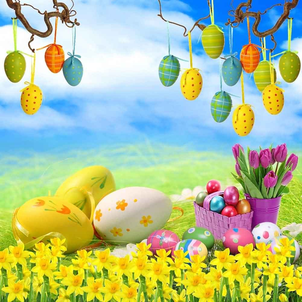 GladsBuy Various Eggs 10' x 10' Digital Printed Photography Backdrop Easter Theme Background YHB-147
