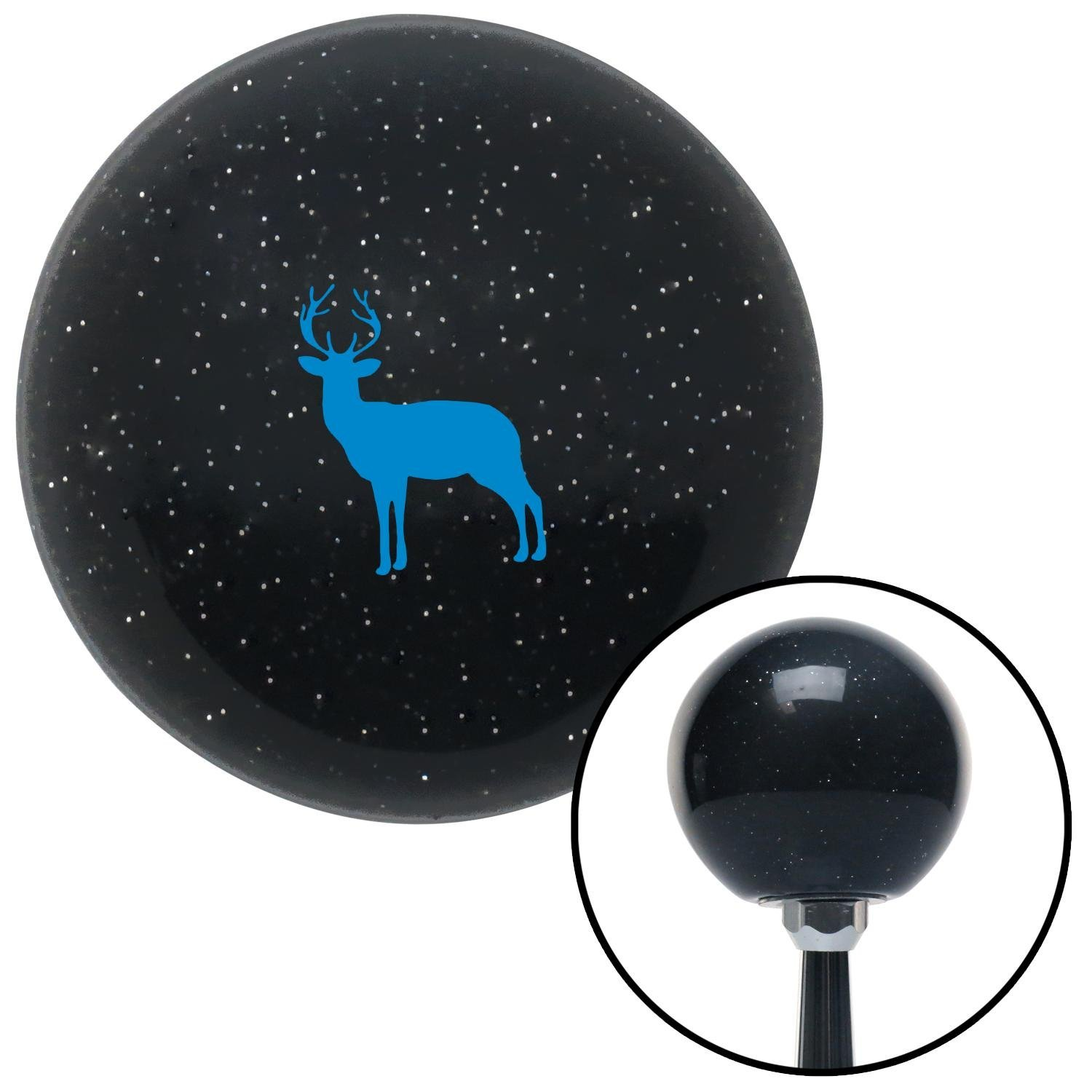 Blue Deer Silhouette Black Metal Flake with M16 x 1.5 Insert American Shifter 278471 Shift Knob