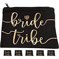 5pc Bride Tribe Makeup Bags - Bridesmaid Favor for Bachelorette Party, Bridal Shower, Wedding. Also Great as Toiletry Bag, Wedding Survival Kit, Hangover Kit, Keepsake (5pc Pack, Black & Gold)