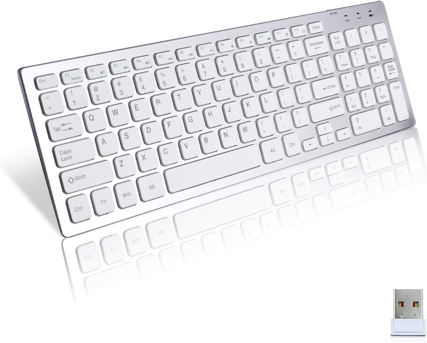 AODOOR Wireless Keyboard Slim USB 2.4GHZ Full Size Silent Wireless Keyboards Ergonomic Design with Numeric Keypad for Computer Laptop Desktop PC Surface Smart TV and Mac Windows XP/10/8/7,Silver