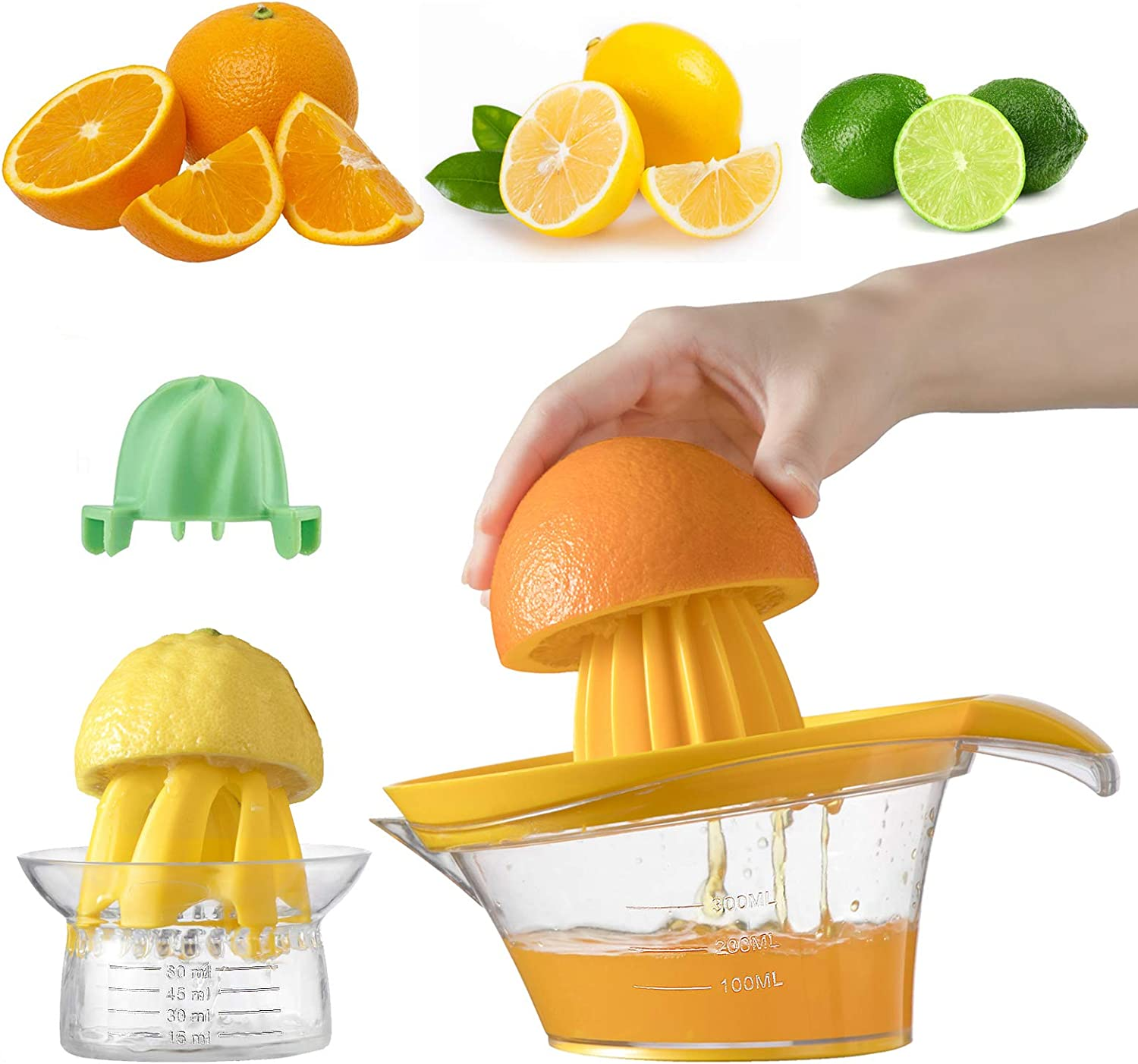 Lemon Squeezer,Orange Juicer,Lime Squeezer,3-in-1 Citrus Juicer ,Orange Juice Squeezer,with Strainer Built-in Measuring Cup - 14 OZ Capacity (pack of 2)