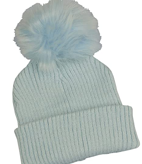 BabyPrem Baby Boy Toddler Woolly Hat Pom Pom Winter Clothes Rib Knit Blue  6-12 f8681bf6f6c