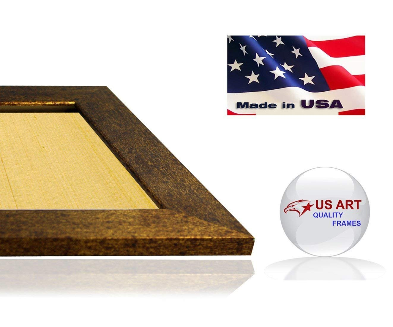 US Art Frames 23x32 Brushed Copper Brass Finish Flat 1.5 Inch, MDF Wood Composite, Picture Poster Frame
